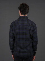 The Flat Head Western Selvedge Flannel  - Green/Navy