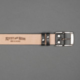 Rivet & Hide Bridle Leather Belt - Black Oak Bark