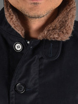 Iron Heart Whipcord Alpaca Lined N1 Deck Jacket - Navy