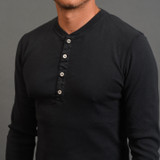 Berry On The Drums - Tubular Long Sleeve Henley - Black
