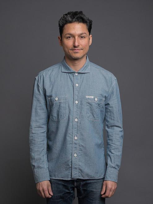The Flat Head Cotton/Linen Selvedge Chambray Shirt - Blue