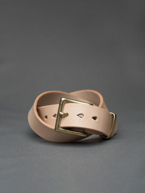 """Iron Heart Heavy Duty """"Tochigi"""" Leather Belt - Brass Buckle - Tan"""