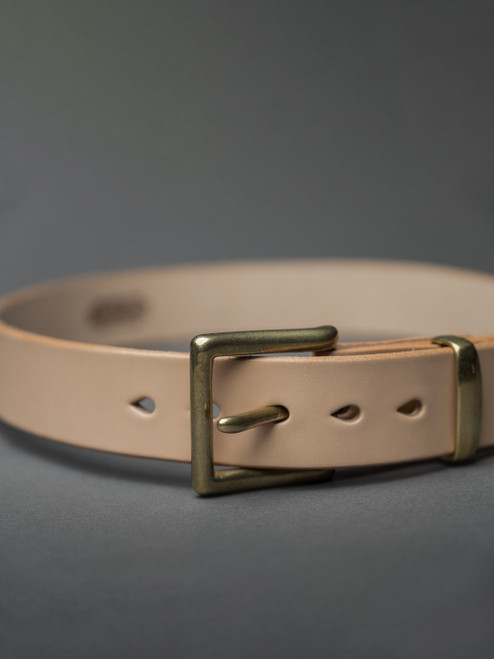 "Iron Heart Heavy Duty ""Tochigi"" Leather Belt - Brass Buckle - Tan"