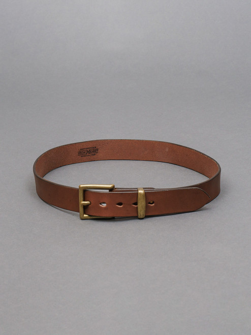 "Iron Heart Heavy Duty ""Tochigi"" Leather Belt - Brass Buckle - Brown"