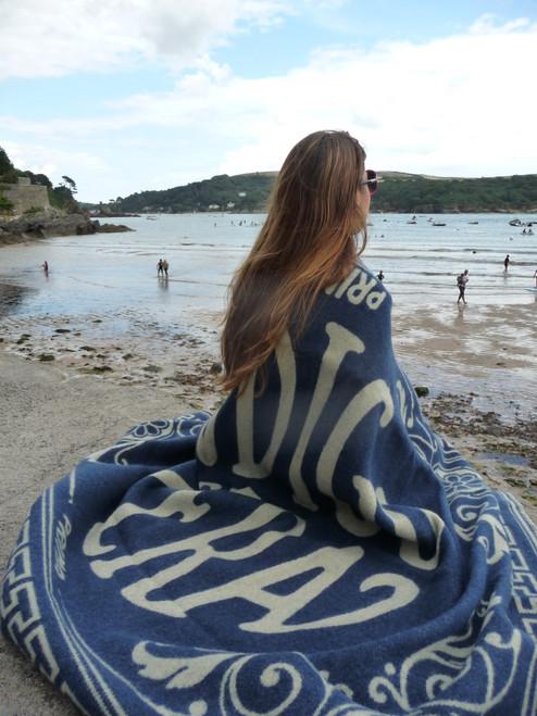 Indigofera 100% Wool Blanket Blue Logo