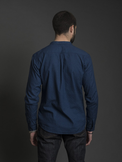 UES Band Collar Indigo Shirt