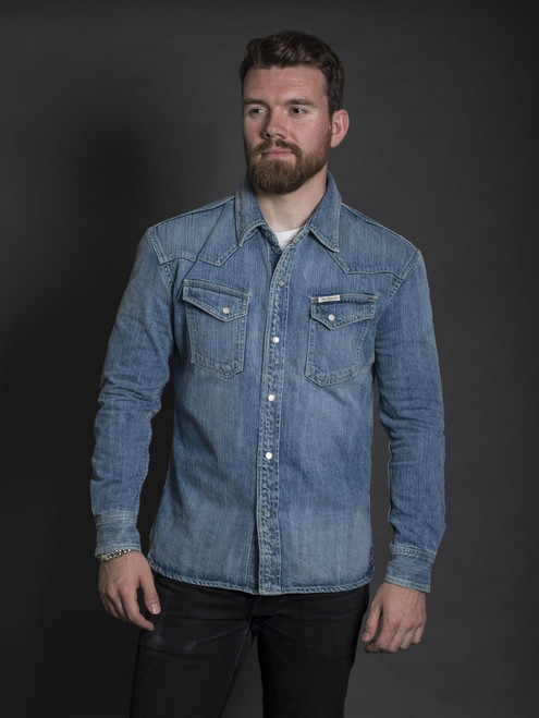 The Flat Head Ice Blue Selvedge Denim Western Shirt