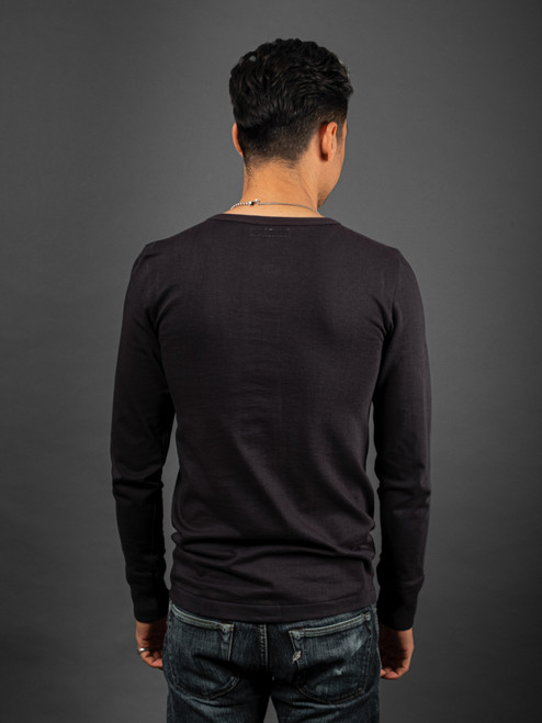 Merz b. Schwanen 2 Thread 206 Heavyweight Organic Henley - Charcoal