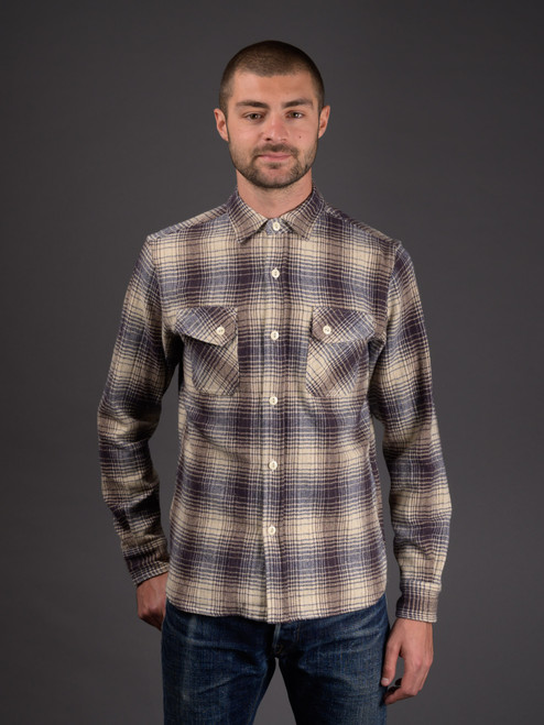 3sixteen Brushed Crosscut Flannel - Blue/Cream