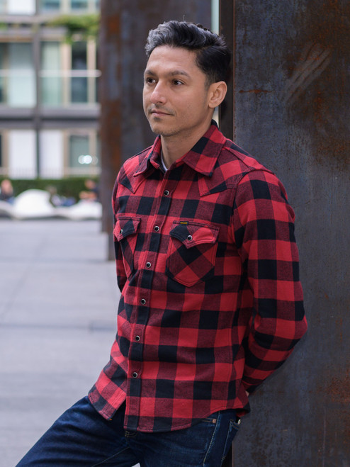 Iron Heart IHSH-232 Ultra Heavy Flannel - Red/Black Buffalo Check