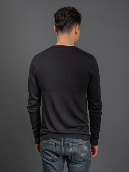 Merz b. Schwanen Extra Fine Merino Wool L/S T-Shirt - Black