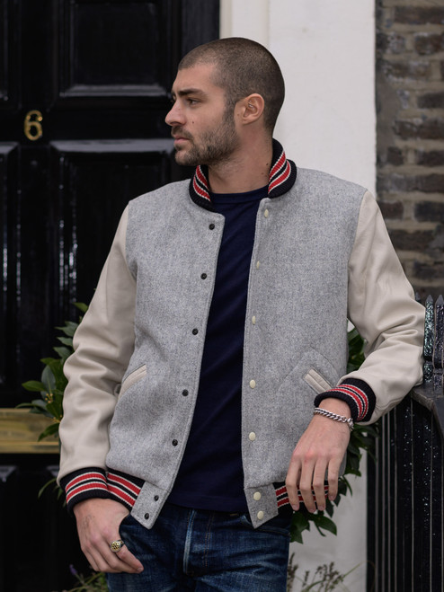 Dehen Leather & Wool Varsity Jacket - Oxford