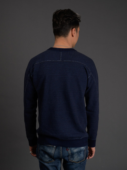 Pure Blue Japan Heavyweight Knit Twill Indigo Sweatshirt