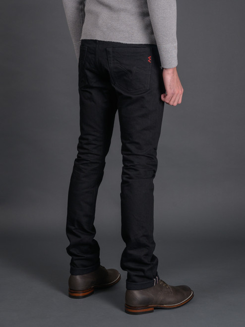 Iron Heart IH-555S-142bb 14 oz. Super Slim Tapered Jeans - Black/Black