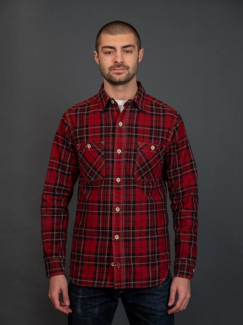 Momotaro 05-251 Block Check Shirt - Red