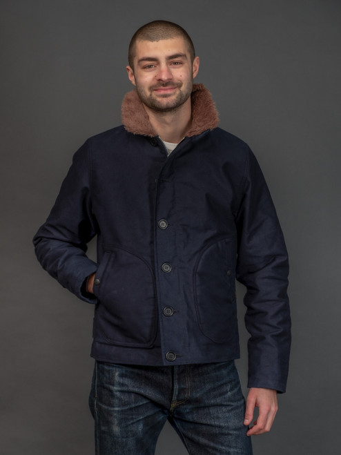 Iron Heart Whipcord Alpaca Lined N1 Deck Jacket - Indigo