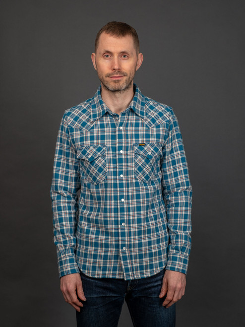Iron Heart IHSH-231 Tartan Check Ultra Heavy Flannel - Blue