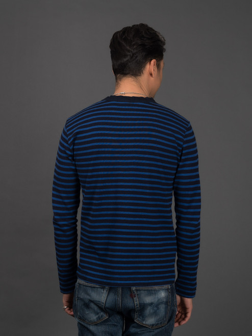 Pure Blue Japan Hemp Blend Border L/S T Shirt - Indigo/Blue