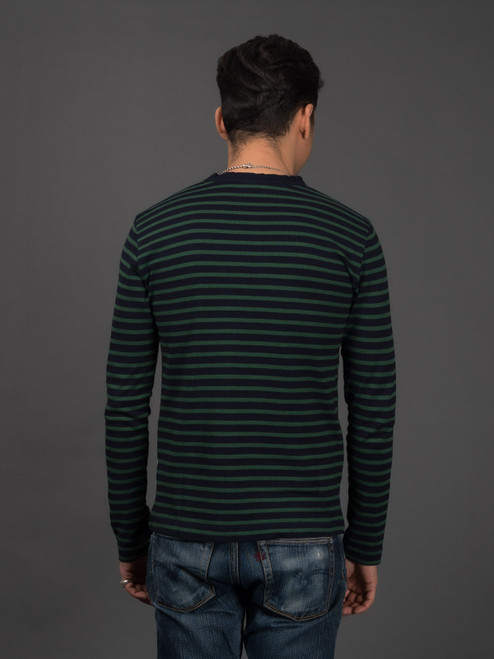 Pure Blue Japan Hemp Blend Border L/S T Shirt - Indigo/Green