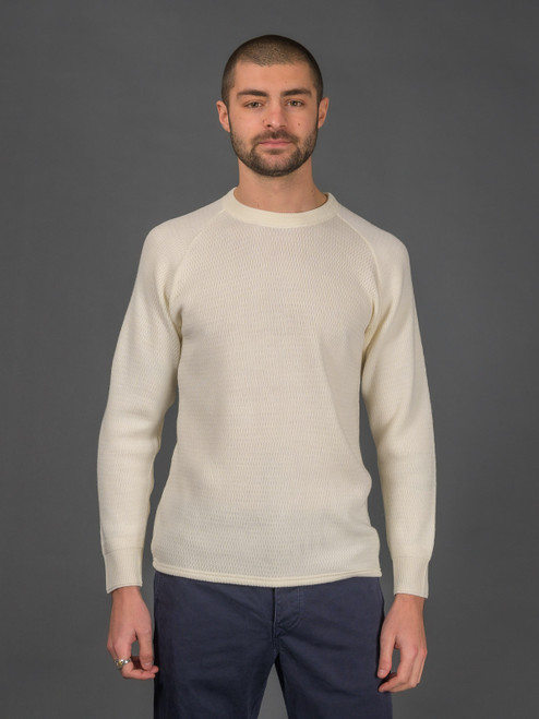 Stevenson Overall Merino Wool Thermal Sweater - Ivory