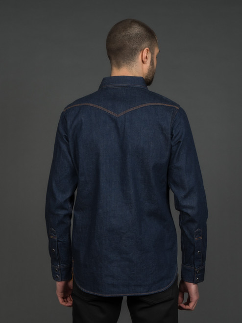 Iron Heart 12 oz. Selvedge Denim Western Shirt - Natural Indigo