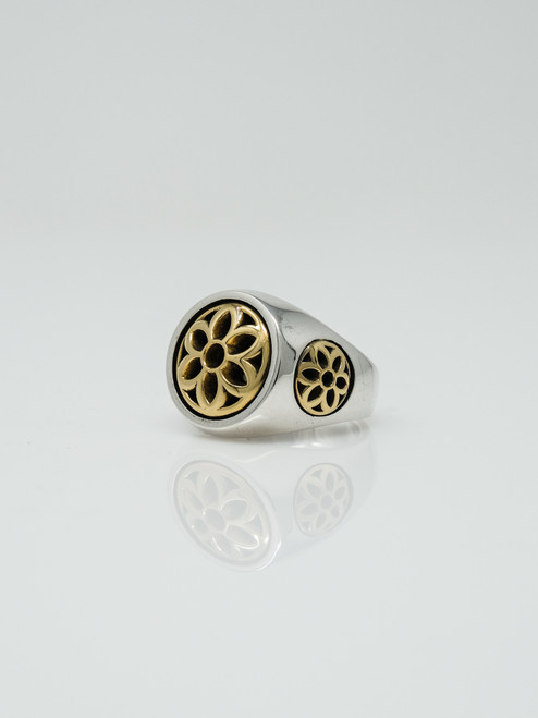 Good Art Sterling Silver Club Ring/22 Karat Gold Rosettes - 10.5