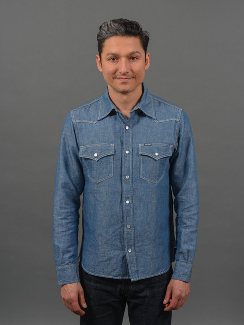 Iron Heart Indigo 5 oz Cotton/Linen Chambray Western Shirt