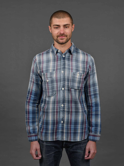 Pure Blue Japan Indigo Check Flannel Shirt - Red