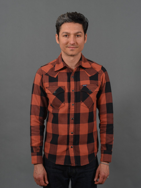 Iron Heart 9 oz Selvedge Flannel Check Western Shirt – Red/Dark Indigo
