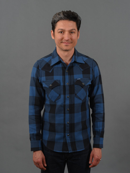 Iron Heart 9 oz Selvedge Flannel Check Western Shirt – Indigo/Dark Indigo