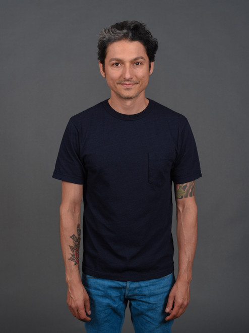 UES Indigo Crew Neck Pocket T-Shirt