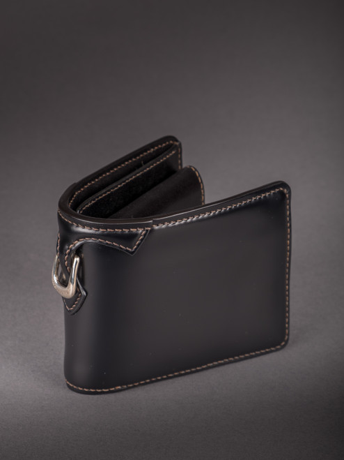 Flat Head Shell Cordovan Small Wallet - Black