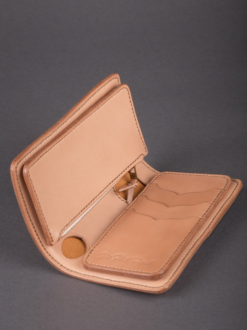 Flat Head Harness Leather Mid-Wallet w/Coin Compartment - Tan