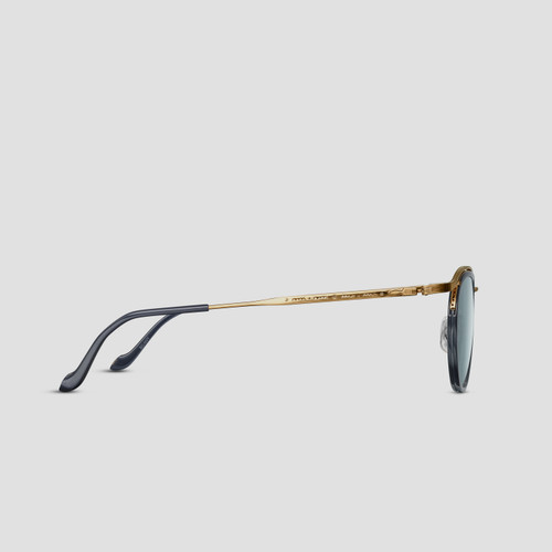 Matsuda M3093 Oval Brushed Gold Navy Sunglasses