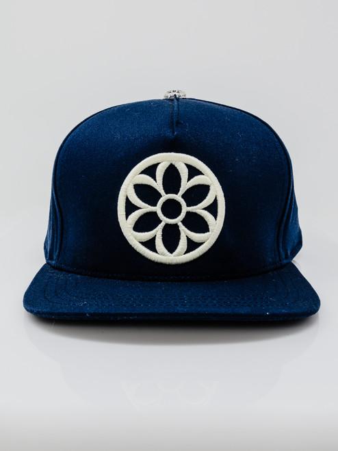 Good Art High Crown Snapback Cap - Navy w/Cream Rosette