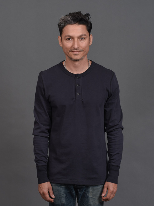 Merz b. Schwanen 2 Thread 204 Heavyweight Organic Henley - Night Blue