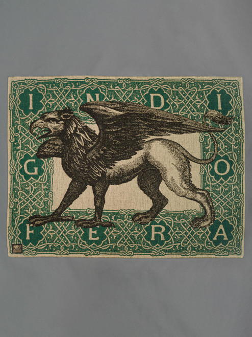 Indigofera 100% Wool Blanket - Gryphon Logo - Green