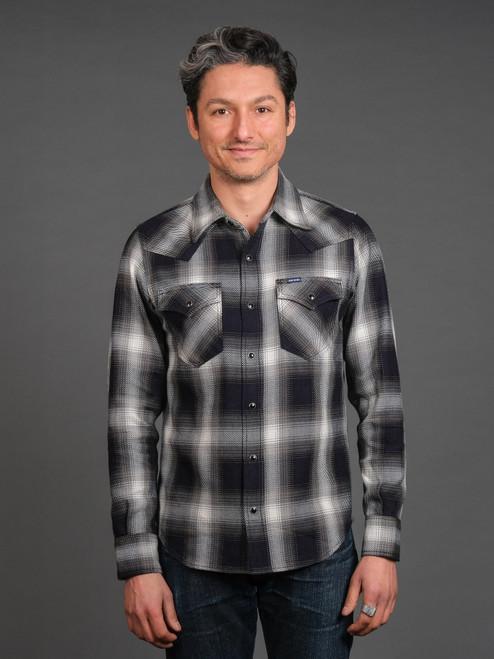 Iron Heart IHSH-276 9 oz Selvedge Ombré Check Western Shirt - Indigo/Grey