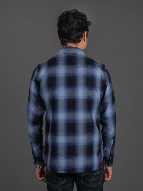 Iron Heart 9 oz Selvedge Ombré Check Work Shirt - Indigo
