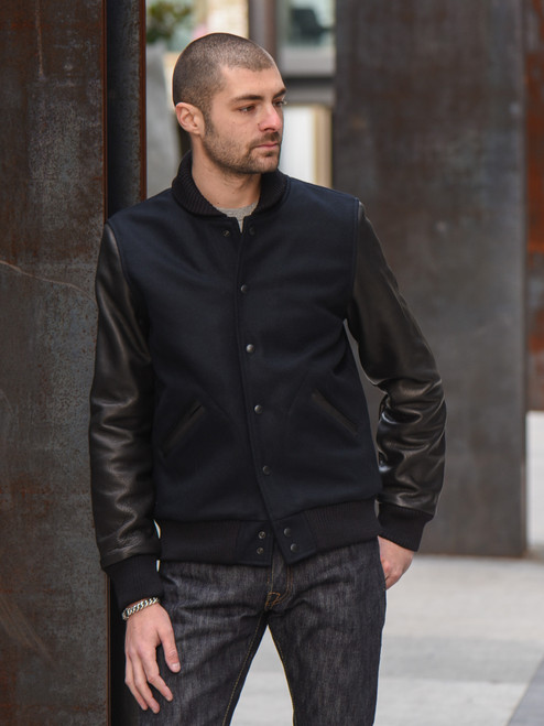 Dehen Leather & Wool Varsity Jacket - Navy/Black