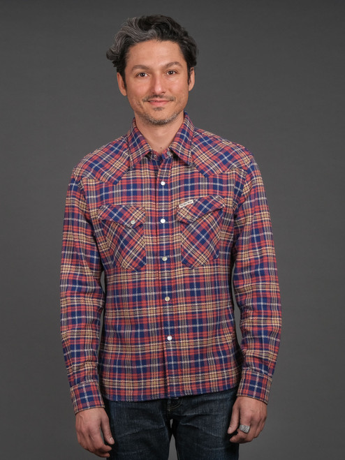 The Flat Head Western Selvedge Flannel - Navy/Pink