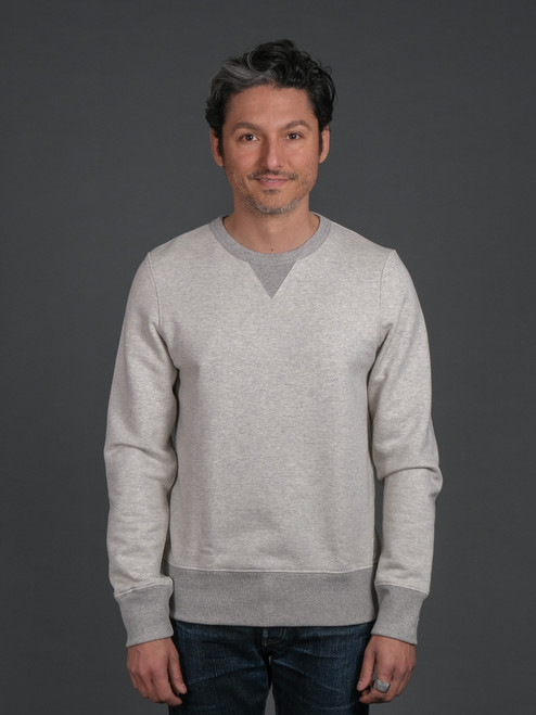 Merz b. Schwanen TR348 Heavyweight Crew Neck Sweater - Natural/Grey Mel.