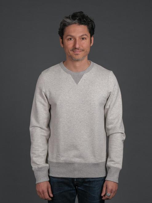 Merz b. Schwanen TR348 Heavyweight Crew Neck Sweater - Natural/Grey Mel.