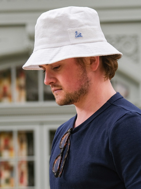 Merz b. Schwanen French Terry Cloth Bucket Hat - White