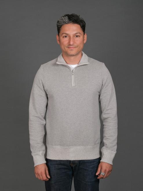 Merz b. Schwanen 343Z Heavyweight Half Zip Sweater - Grey Mel