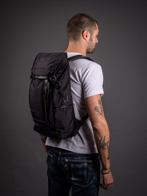 Master-Piece Potential V2 Leather Trim Backpack - Black