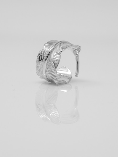 The Flat Head Sterling Silver Feather Ring