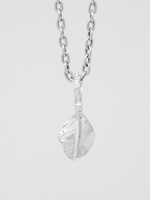 The Flat Head Sterling Silver Feather Pendant  - 35mm