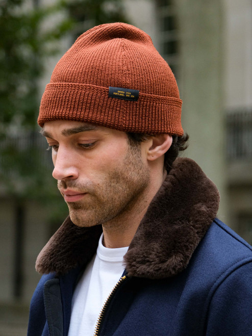 Dehen Wool Knit Watch Cap - Tobacco