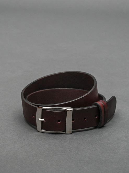 "Bridle Leather 1.5 "" Belt / Australian Nut Tan / Nickel Plated Full Buckle"